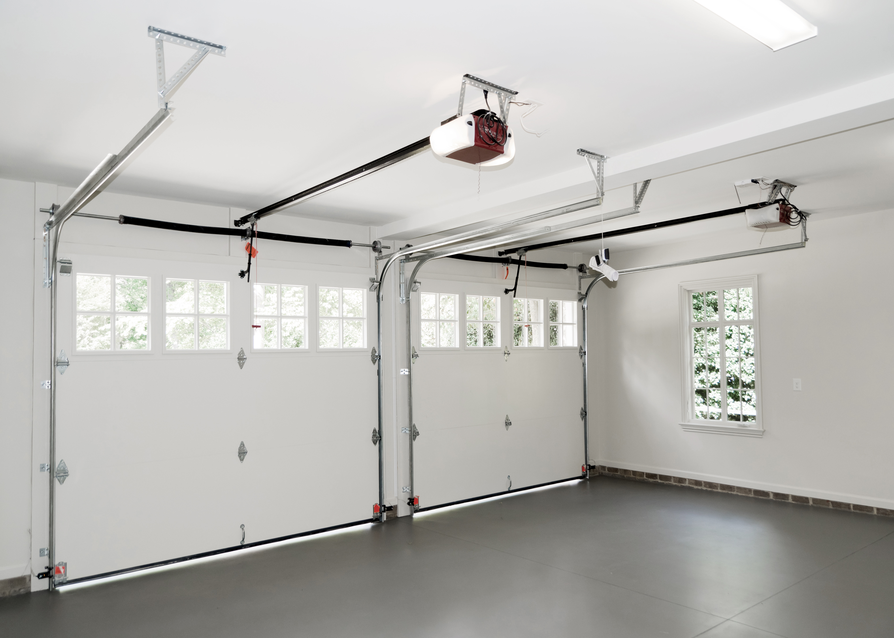 Residential house two car garage with window interior